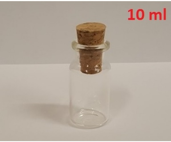 Pudele, no caurspīdīga stikla (ar korki)